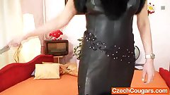 Good-looking domina wife performs strange masturbation