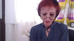 Skinny granny strips and shows off