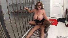 Cock-sucking busty milf fuck in prison