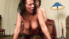 Chubby mature in stockings gets laid