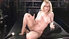 Sexy blonde is riding on the hard vibrator