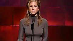 Jennifer Aniston show hard nipples in tight dress