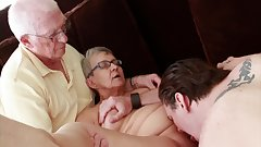 Granny fucked by young dude while her husband watches in cuckold