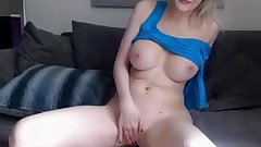 Mature big boobs blonde is all horny on a dildo