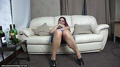 Provocative british redhead open legs