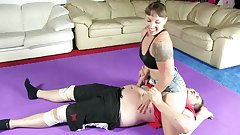 Mistress Kara wrestles and dominates fat boy p5