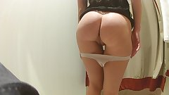 Public Dildo Orgasm In A Dressing Room. She Shows Her Pussy And Ass