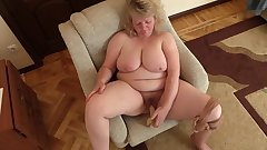 mature milf big tits hairy cunt nylon pantyhose dildo masturbation
