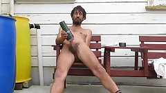 Steve Patrick wanking with fleshlight outside