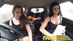 Fake Driving School Teacher fucks up the exam for pert teen