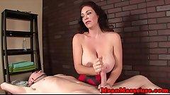 Massaging mature ruins customers orgasm
