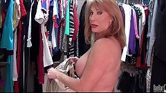 Sexyest mature lady Rae Hart touch pussy in wardrobe