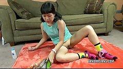 Asian wife Yuka Ozaki fucks her pussy with a big cucumber