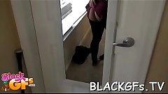 Cute black babe engulfs weenie
