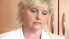 Attractive Tempting blonde Granny in the Kitchen Masturbates to Orgasm with Toy