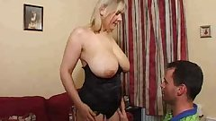 Mature blonde super big saggy tits