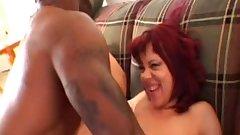 Redhead Granny Creams on Black Cock