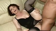 Hairy Mature in Black Stockings