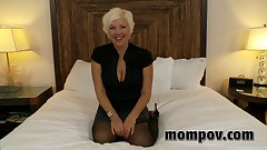 Horny blonde milf loves cock