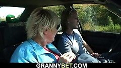 He doggy-fucks old granny right on the road-side