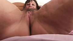 Amateur Mature brunette with big tits and hairy pussy