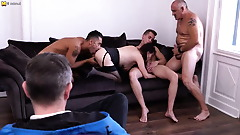 Naughty mother getting a DP while doing three guys