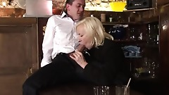 cougar walks in a bartender jerking it