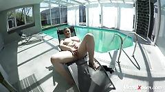big honkers mature masturbating at the pool