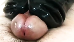 Pleasant fruity yank wanks your cock with rubber socks