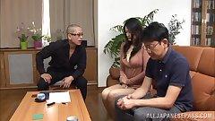 Hot mature Risa Murakami sucks two guys off for their cum
